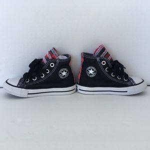Baby Toddler black and red plaid high top Converse